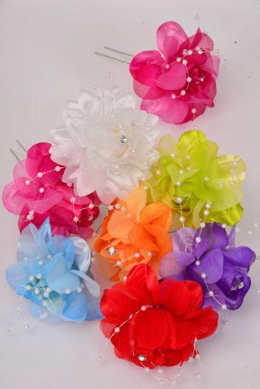 Flower HAT Pin Multi String Beads/DZ