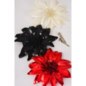 """Sequin Flower Jumbo Poinsetta Red Black Beige Mix Alligator Clip/DZ Size-6"""" Wide,Alligator Clip & Brooch,4  of each Color Asst,Display Card & UPC Code, Clear Box"""