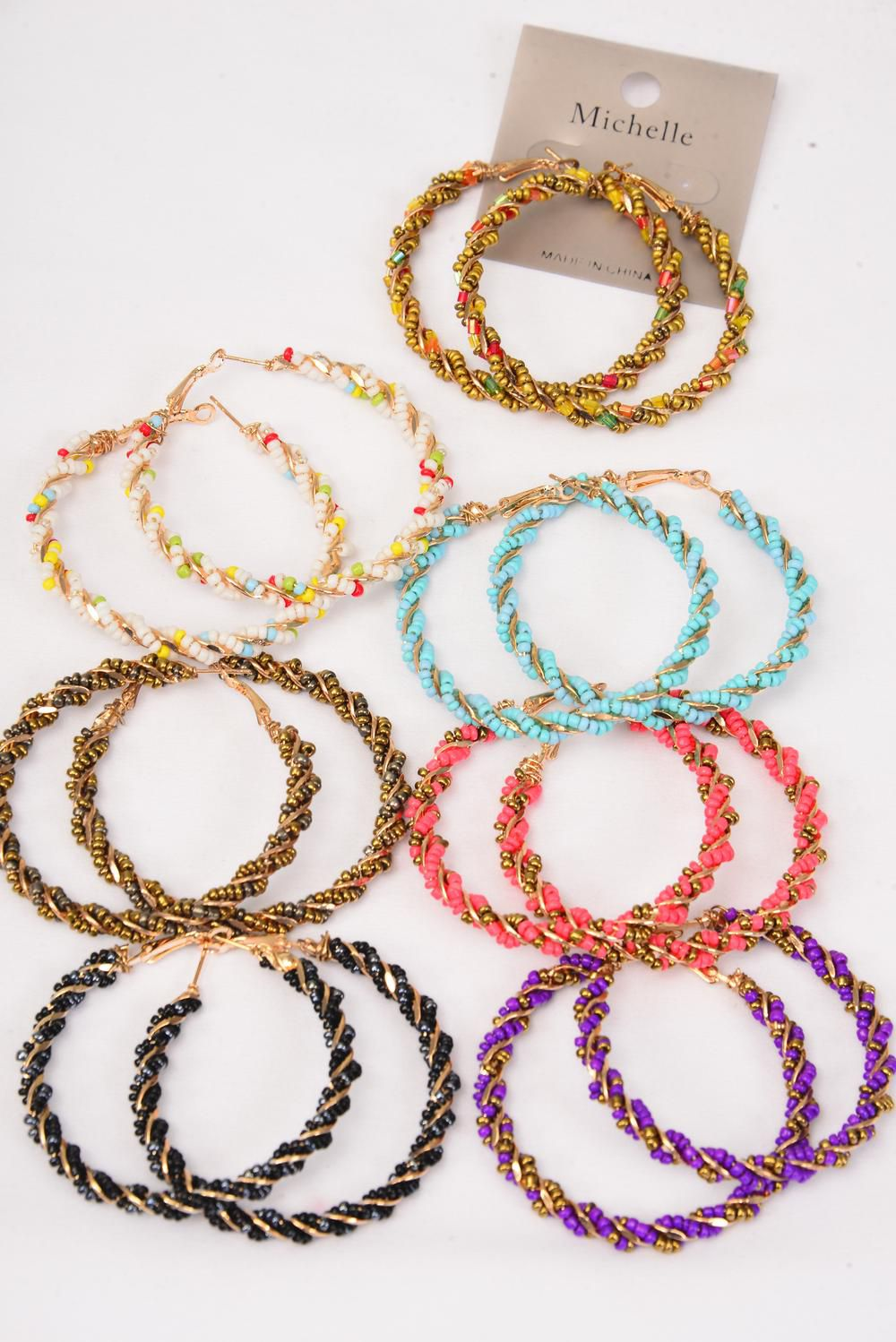 "Earrings Loop Indian Beads Wrap Around/DZ match 26909 *Post** Size-2"" Wide,2 Gold,2 Turquoise,2 Purple,2 Coral,2 Bronze,1 Black,1 White,7 Color Asst,Earring Card & Opp Bag & UPC Code"