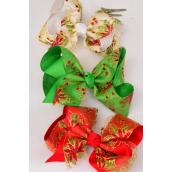 "Hair Bow Jumbo XMAS Poinsettia Red Beige Green Mix Alligator Clip Grosgrain Bow-tie/DZ **Alligator Clip** Size-6""x 5"" Wide,4 Red,4 Green,4 Beige Mix,Clip Strip & UPC Code"