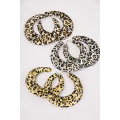 "Earrings Loop Woven W Leopard fabric/DZ match 26856 **Post** Size-2.25"" wide,4 of each Color Asst,Earring card & Opp bag & UPC Code"