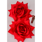 """Silk Tea-Rose Large Red/DZ **Red** Size-5"""",Alligator Clip & Brooch,6 of each Color Asst,Hang Tagd & UPC Code,W Clear Box"""