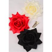 "Silk Tea-Rose Large Red Beige Black Mix/DZ Size-5"",Alligator Clip & Brooch,4 Red,4 Beage,4 Black of each Color Asst,Hang Tagd & UPC Code,W Clear Box"