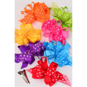 """Hair Bow Loop Bow Wide Grosgrain Fabric & Chiffon Hearts Print/DZ **Alligator Clip** Bow-5""""x 4"""",2 Red,2 Blue,2 Hot Pink,2 Yellow,2 Purple,1 Lime,1 Orange,7 Color Asst,Display Card & UPC Code,W Clear Box"""