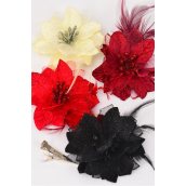 """Flower Poinsettia Flower & Feathers/DZ Alligator Clip & Brooch & Elastic,Flower Size-4.5"""" Wide,4 Red,4 Burgundy,2 Black,2 Cream mix,Display Cared & UPC Code,W Clear Box"""
