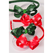 """Headband for Kids Xmas Grosgrain Fabric Bow-tie Snows Flakes/DZ Bow Size-3""""x 2"""" wide,3 of each Color Asst,hang tag & UPC Code,W Clear Box"""