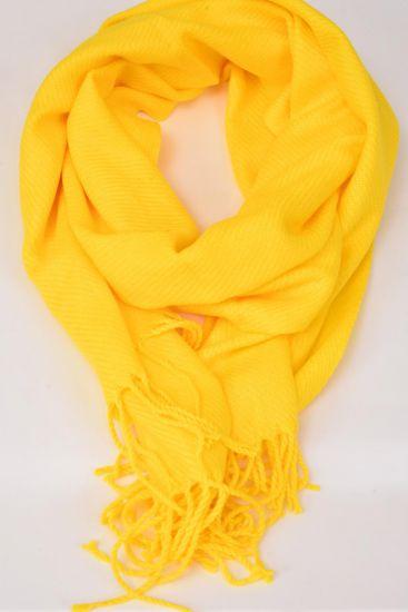 **Yellow** Size-70''x 25'' Wide,70% PASHMINA,30% Silk,W OPP Bag