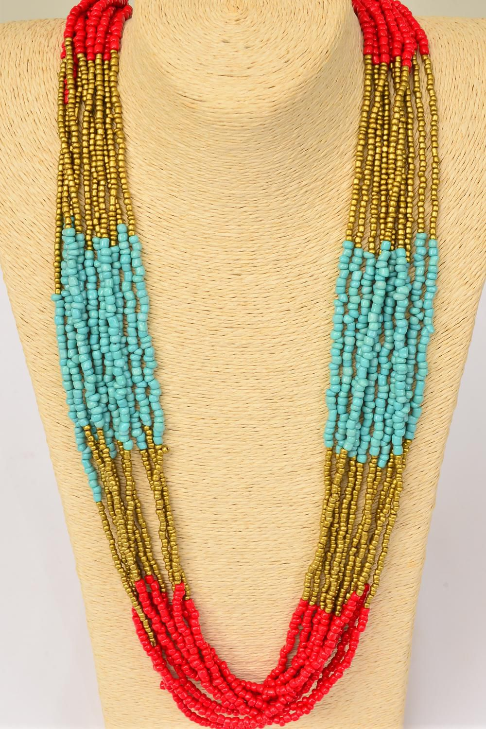 "Necklace Bohemian Look Indian Beads Red & Turquoise Mix/PC Size- 26"" Long,Display Card & OPP Bag & UPC Code"