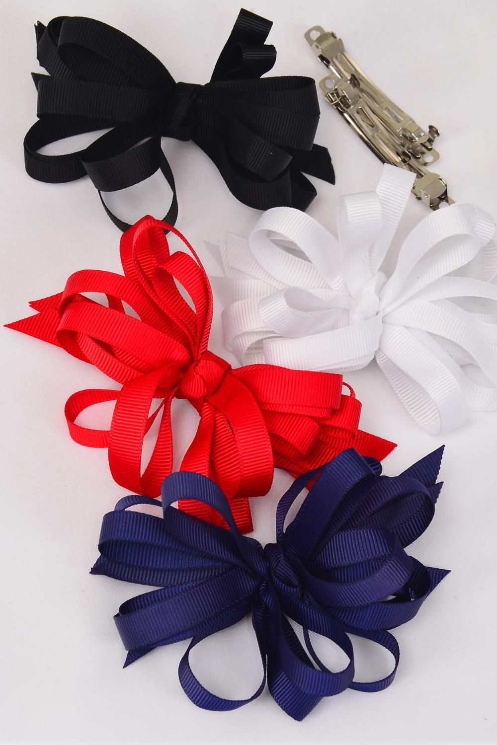 "Hair Bow Loop Bow Red White Black Navy Mix Grosgrain Fabric French Clip/DZ **French Clip** Bow Size-4.5""x 3.5"" Wide,3 Red,3 White,3 Black,3 Navy Mix,Display Card & UPC Code,W Clear Box"