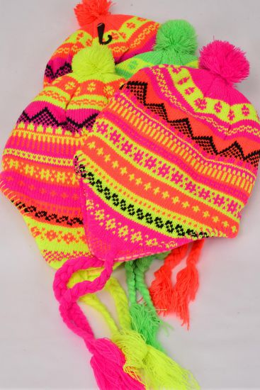 Knit CAP Neon Eskimo With BALL Polyester Heavy Weight/DZ