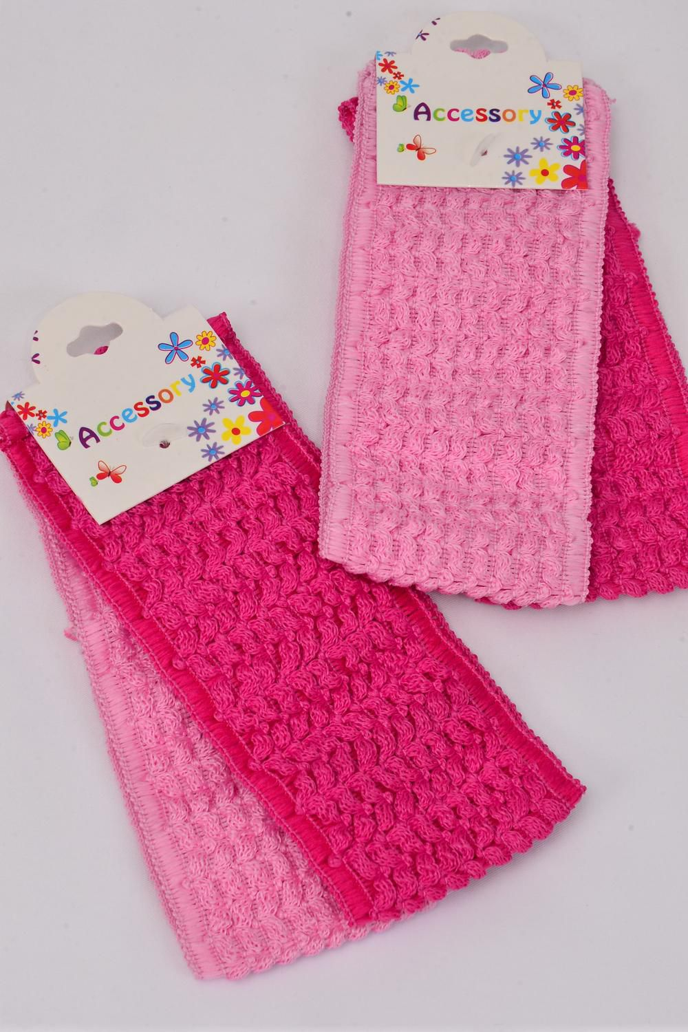 "Headband Crochet 2.25 Inch Wide 24 pcs Pink Mix/DZ **Pink Mix** Stretch** Size-2.25"" Wide,Hang Tag & OPP Bag & UPC Code"