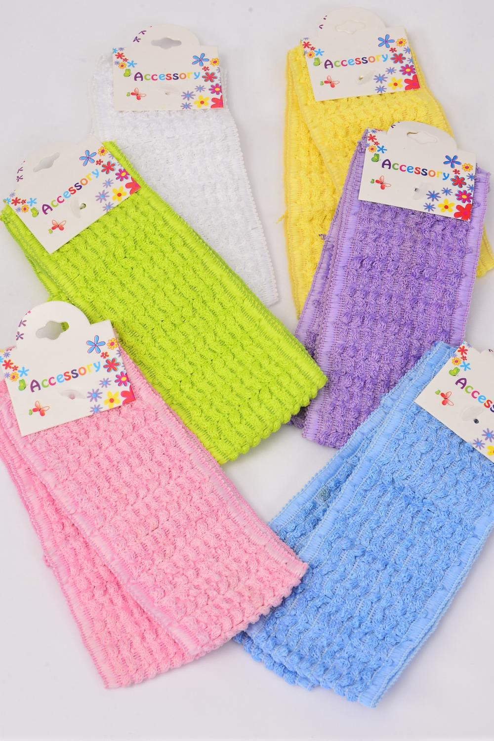 "Headband Crochet 2.25 Inch Wide 24 pcs Pastel Color Mix/DZ **Pastel** Stretch** Size-2.25"" Wide,2 of each color Asst,Hang Tag & OPP Bag & UPC Code"