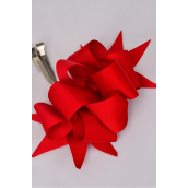 """Hair Bow Jumbo Wide Loop Bow Grosgrain Fabric Red/DZ **Red** Alligator Clip, Bow-6""""x 5"""" Wide,Display Card & UPC Code,Clear Box-"""