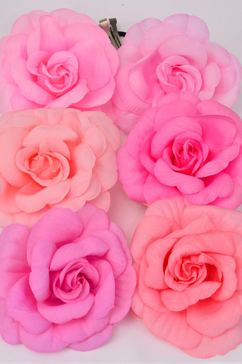 "Silk Flower Large Rose Pink Mix Alligator Clip/DZ **Pink Mix** Size-5.5"" Wide, Alligator Clip & Elastic Pony & Brooch,2 of each Color Asst,Display Card & UPC code,W Clear Box -"