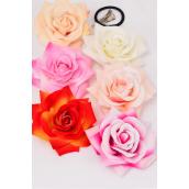 "Silk Flower Tea Rose Life Like Alligator Clip/DZ Size-5"" Wide, Alligator Clip & Brooch & Elastic Pony,2 of each Color Asst,Display Card & UPC Code,W Clear Box -"