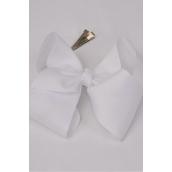"Hair Bow Cheer Type Bow White Alligator Clip  Grosgrain Bow-tie/DZ **White** Size-8""x 7"" Wide,Alligator Clip,Clip Strip & UPC Code"