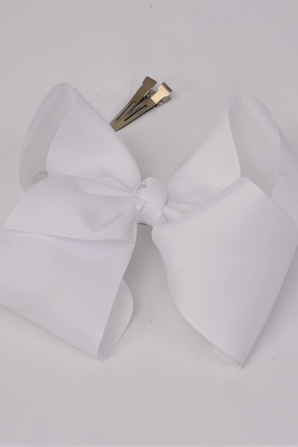 "Hair Bow Cheer Type Bow White Alligator Clip  Grosgrain Bow-tie/DZ **White** Size-8""x 7"" Wide,Alligator Clip,Clip Strip & UPC Code"
