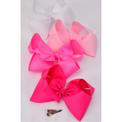 """Hair Bow Cheer Type Bow Pink Mix Alligator Clip Grosgrain Bow-tie/DZ **Pink Mix** Size-8""""x 7"""" Wide,3 Hot Pink,3 Baby Pink,2 White,2 Fuchsia,2 Neon Pink mix,Alligator Clip,W Clear Strip,UPC Code"""