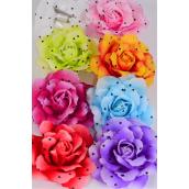 "Silk Flower Large Tea Rose w Polkadots Alligator Clip/DZ Size-5"" Wide,Alligator Clip & Brooch & Elastic Pony,2 Fuchsia,2 Pink,2 Orange,2 Lavender,1 White,1 Blue.1 Red,1 Lime,8 Color Asst."
