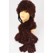 """Magic Scarf 3 pc Sets Stretchey Brown/Sets **Brown** Stretch,Scarf Size-13""""x 64"""" Wide, Display Card & OPP Bag & UPC Code"""
