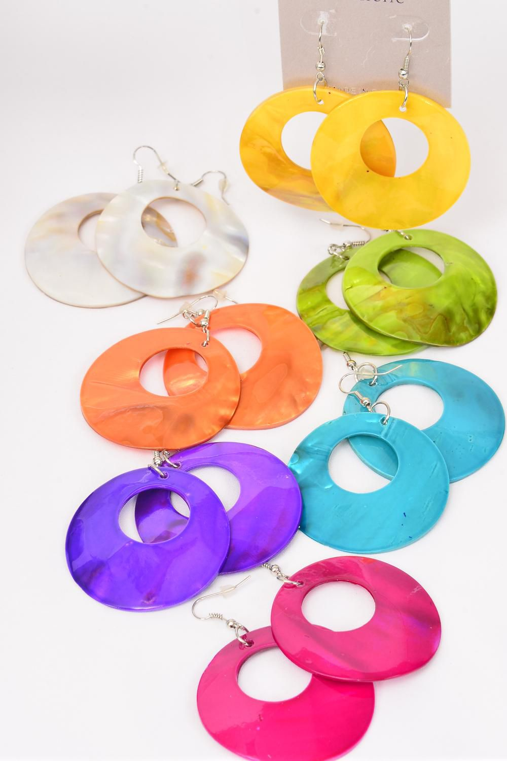 "Earrings Seashell Solid Color Mix/DZ **Fish Hook** Size-2"",2 Fuchsia,2 Purple,2 White,2 Yellow,2 Blue,1 Orange,1 Lime,7 color Asst,Earring Card & OPP bag & UPC Code"