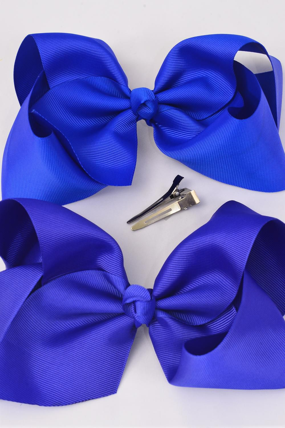 "Hair Bow Cheer Type Bow Royal Blue Mix Alligator Clip Grosgrain Fabric Bow-tie/DZ **Royal Blue Mix** Alligator Clip,Size-8""x 7"" Wide,6 of each Color Asst,Clip Strip & UPC Code"
