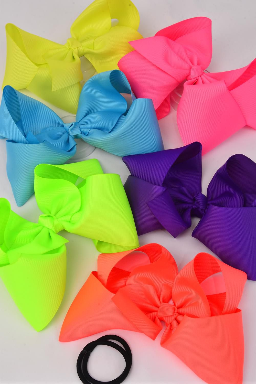 "Hair Bow Cheer Type Bow Caribbean Elastic Pony Grosgrain Bow-tie/DZ **Caribbean** Size-8""x 7"",Elastic Pony,2 of each Color Asst,Clip Strip & UPC Code"