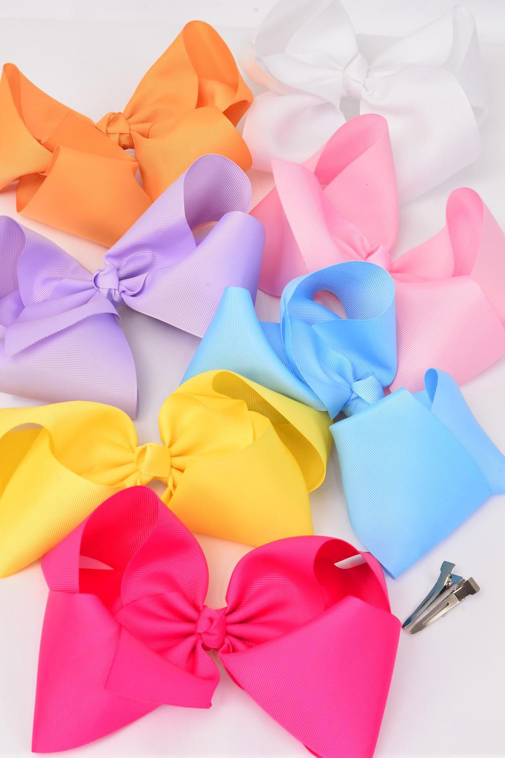 "Hair Bow Cheer Type Bow Pastel Alligator Clip Grosgrain Bow-tie/DZ **Pastel Mix** Size-8""x 7"" Wide,Alligator Clip,2 Hot Pink,2 Lavender,2 Yellow,2 White,2 Blue,1 Peach,1 Baby Pink,7 Color Asst,W Clear Strip & UPC Code"