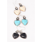 "Earrings Metal Antique Heart Semiprecious Stone/DZ **Fish Hook** Size-1.25""x 1.25"" Wide,4 Black,4 Ivory,4 Turquoise Asst,Earring Card & OPP Bag & UPC Code"