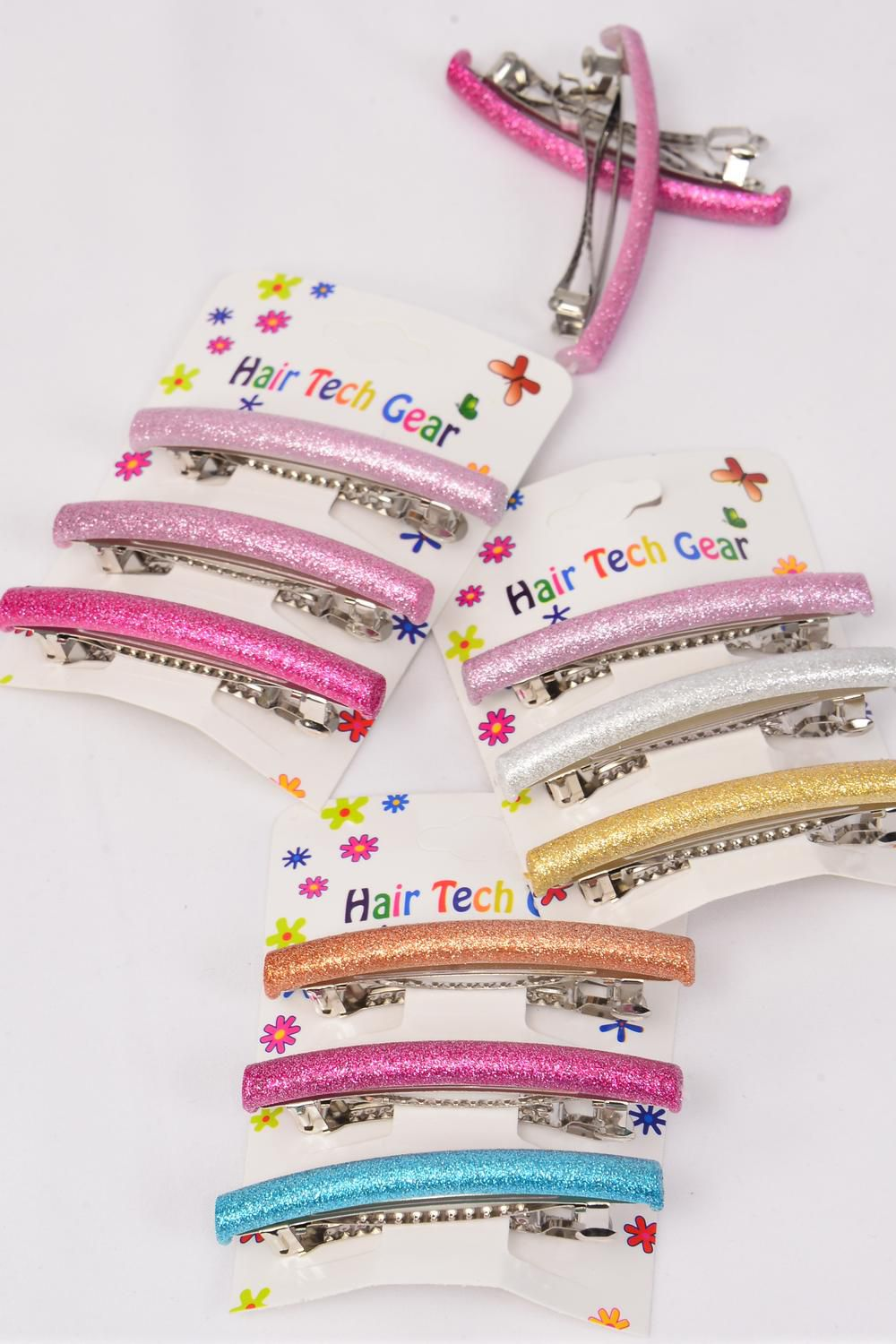 Hair Clip 36 pcs Metallic 6 cm Multi Inner Pack of 3 /DZ **French Clip** Size-6 cm,4 of each Color Asst,Individual Hang Card & OPP Bag & UPC Code,3 pcs per Card,12 Card=Dozen