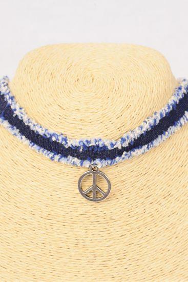 Necklace Choker DENIM Peace Sign Pendant/DZ