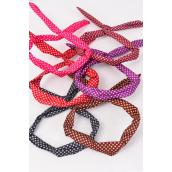 "Headband Cute Rabbit Ears Bow Stars Fabric Multi/DZ **Flexible** Size-1.5"" Wide,2 of each Color Asst,Individual OPP Bag & UPC Code"