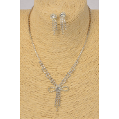 """Necklace Sets Rhinestone Bow tie Flower/Sets **Post** Earrings-1.5""""x 0.5"""" Wide,18"""" Long  Extension Chain,Display Card & OPP bag & UPC Code -"""