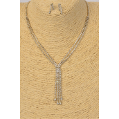 """Necklace Sets Rhinestone W Long Drops/Sets **Post** 16"""" W Extension Chain, Black Velvet Display Card & OPP Bag & UPC Code"""