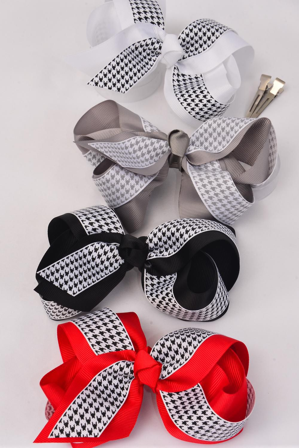 "Hair Bow Jumbo Houndtooth Double Layer Grosgrain Bow-tie/DZ **Alligator Clip** Size-6""x 5"" Wide,3 Black,3 White,3 Red,3 Gray Mix,Clip Strip & UPC Code"