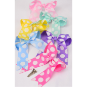"Hair Bow Long Tail Jumbo Polkadots Pastel Grosgrain Bowtie/DZ **Pastel** Alligator Clip,Size-6.5""x 6"" Wide,2 White,2 Pink,2 Yellow,2 Lavender,2 Blue,1 Hot Pink,1 Mint Green,7 Color Mix,Clip Strip & UPC Code"