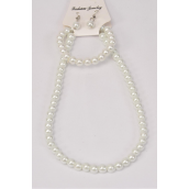"Necklace Sets 3 pcs 8 mm Glass Pearls 20in Long White Pearl/DZ **White** 20"" Long,Bracelet is Stretch,hang Tag & opp bag & UPC Code"