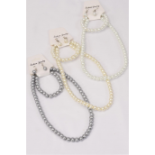 "Necklace Sets  3 pces 8 mm Glass Pearls 20in Long/DZ 20"" Long,Bracelet is Stretch,4 White,4 Cream,4 Gray Pearl Mix,Hang Tag & opp bag & UPC Code -"