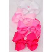 "Headband Horseshoe Jumbo Grosgrain Bow-tie Pink Mix/DZ **Pink Mix** Bow Size-5""x 6"" Wide,3 Baby Pink,3 Hot Pink,3 Fuchsia,3 White Mix, Hang Tag & UPC code,W Clear Box -"