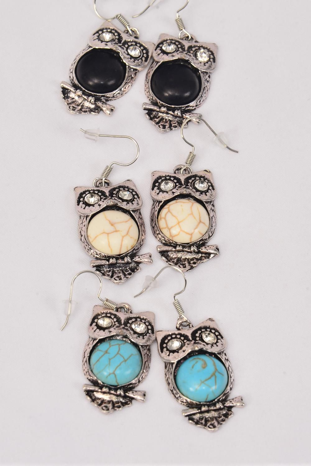 "Earrings Metal Antique Owl Semiprecious Stone/DZ match 75022 or 26092 **Fish Hook** Size-1.25""x 0.75"" Wide,4 Black,4 Ivory,4 Turquoise Asst,Earring Card & OPP Bag & UPC Code -"