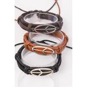 Bracelet Real Leather Band Sideways Peace Sign Adjustable/DZ **Unisex** Adjustable,4 of each Color Mix,Hang Tag & OPP Bag & UPC Code