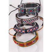Bracelet Real Leather Band Geometric Print Adjustable/DZ **Unisex** Adjustable,3 of each Color Mix,Hang tag & OPP Bag & UPC Code