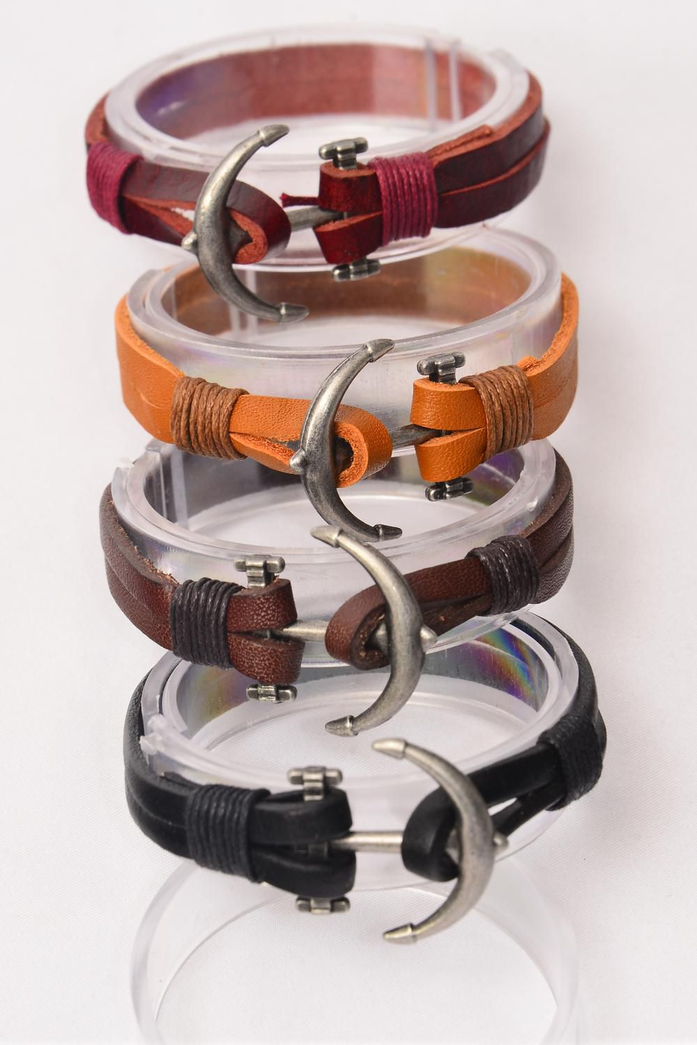 Bracelet Real Leather Anchor Double Wrap/DZ **Unisex** 3 of each Color Asst,Hang Tag OPP Bag & UPC Code