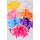 "Hair Bow Jumbo Wide Loop Bow Grosgrain Fabric Pastel/DZ **Pastel** Alligator Clip,Bow-6""x 5"" Wide,2 Lavender,2 Hot Pink,2 Blue,2 Yellow,2 White, 1 Peach,1 Baby Pink Mix,Display Cared & UPC Code,W Clear Box"