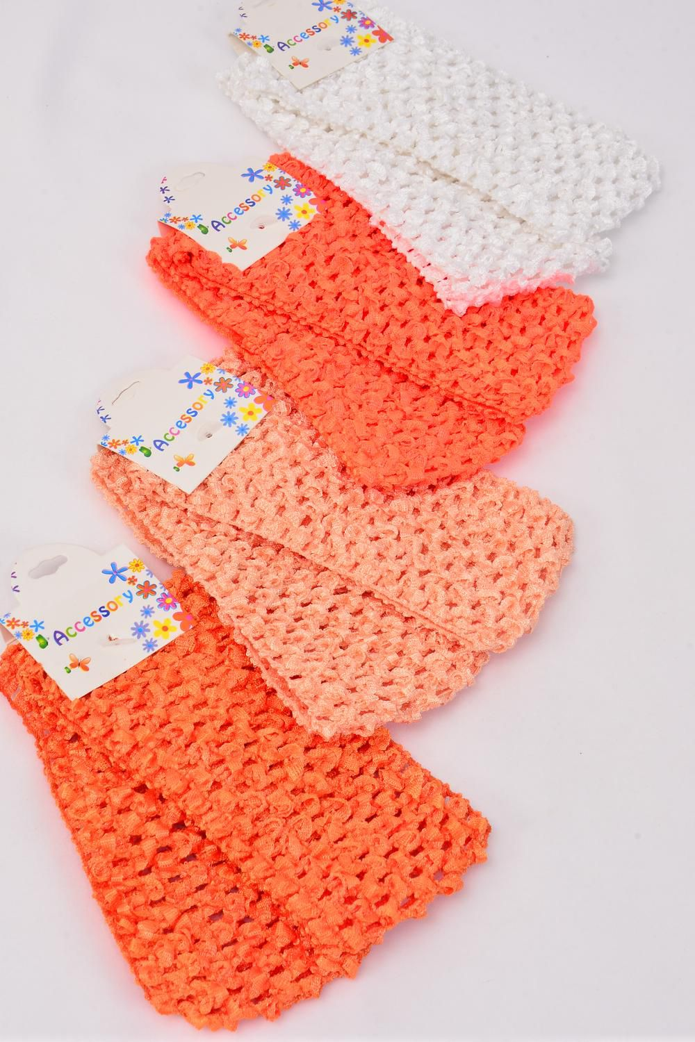 "Ballerina Headband 24 pcs Stretch Orange Mix/DZ **Orange Mix** Stretch,Size-2.75""x 5.5"" Wide,3 of each Color Asst,Hang tag & UPC Code,each card has 2 pcs,12 card=Dozen"