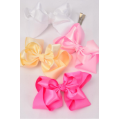 "Hair Bow Jumbo Double Layer Satin & Grosgrain Bow Pink Mix Alligator Clip/DZ **Pink Mix** Alligator Clip, Size-6""x 5"" Wide,3 of each Color Asst,Clip Strip & UPC Code"
