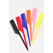 """Rat Tail Comb Med Tooth/DZ Size-1.25""""x 9"""",OPP Bag,Choose Colors"""