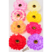 "Silk Flower Large 2 tone Multi Life Like Alligator Clip/DZ **Multi** Size-6"" wide,Alligator Clip & Brooch & Elastic Pony,2 Red,2 Hot Pink,2 Pink,2 Peach,1 Beige,1 Purple,1 Yellow,1 Fuchsia,8 Color Asst"