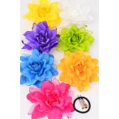 "Silk Flower Large Glitter Trime Citrus Alligator Clip/DZ **Citrus** Size-5.5"" Wide,Alligator Clip & Elastic Pony & Brooch,2 Purple,2 Yellow,2 Blue,2 Fuchsia,2 Orange,1 Lime,1 White,7 Color Asst."