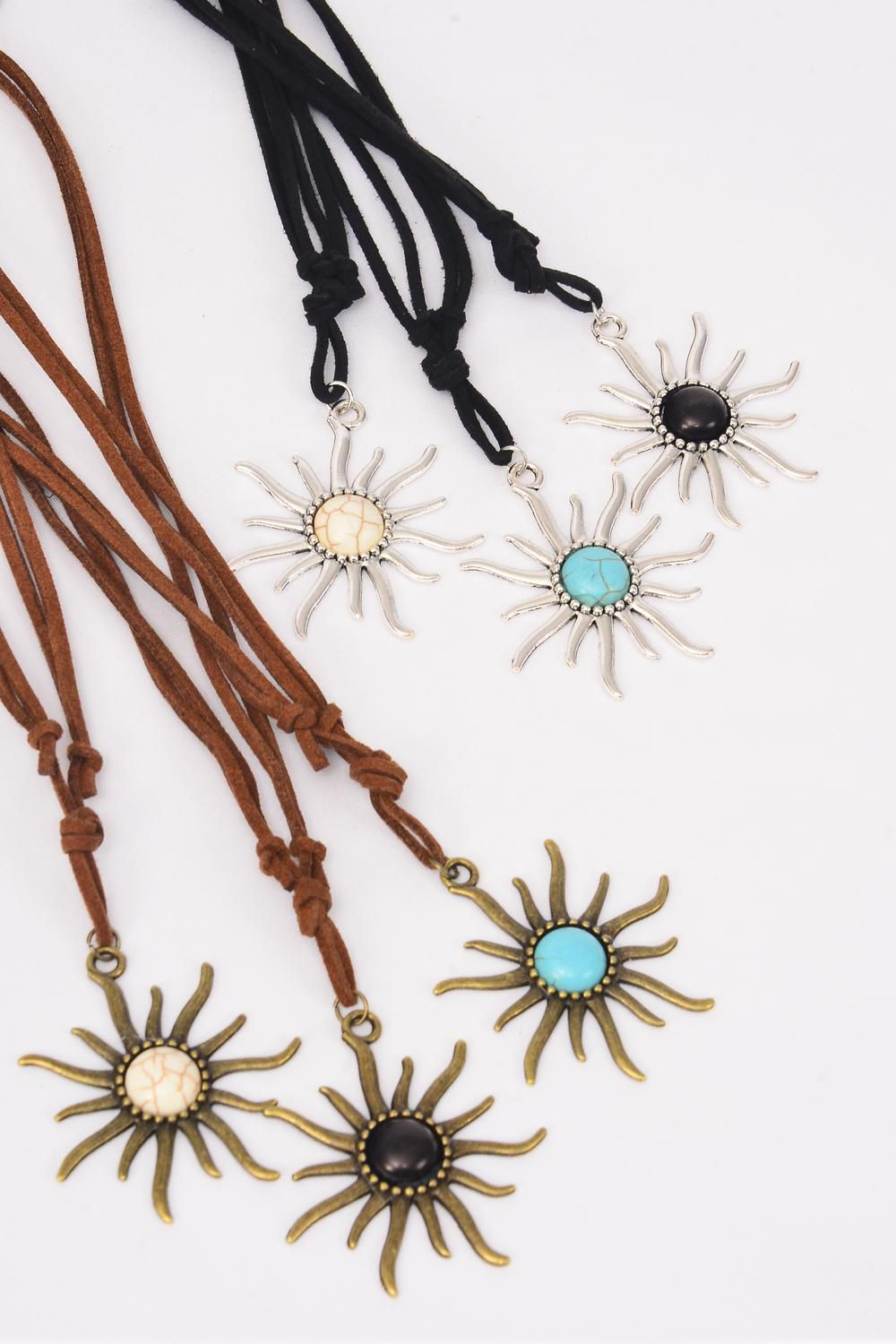 Necklace Leather Feel Sun Pendant Semiprecious Pendant Semiprecious Stone/DZ Necklace **Adjustable** 4 Ivory,4 Black,4 Turquoise Asst,Hang Tag & OPP Bag & UPC Code
